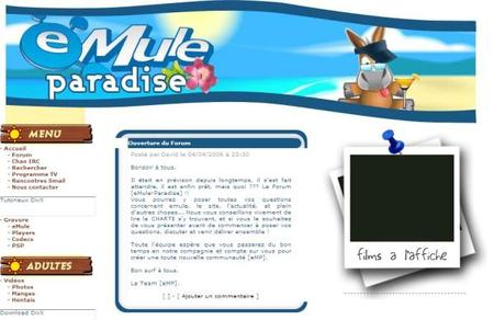 关站前的emule-paradise.com截图