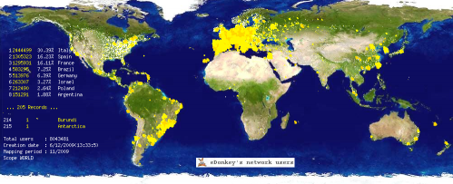 edonkey network peers geolocalization on 2009 Dec