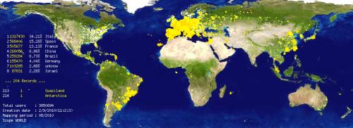 2010年的电驴网络用户世界分布图
